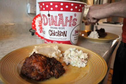 Fried chicken, mashed potatoes with gravy, pineapple coleslaw
