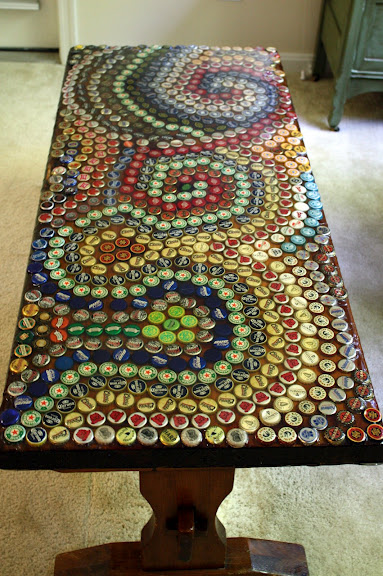 Diy beer cap projects girls who like beergirls who like beer for How to make a table out of bottle caps