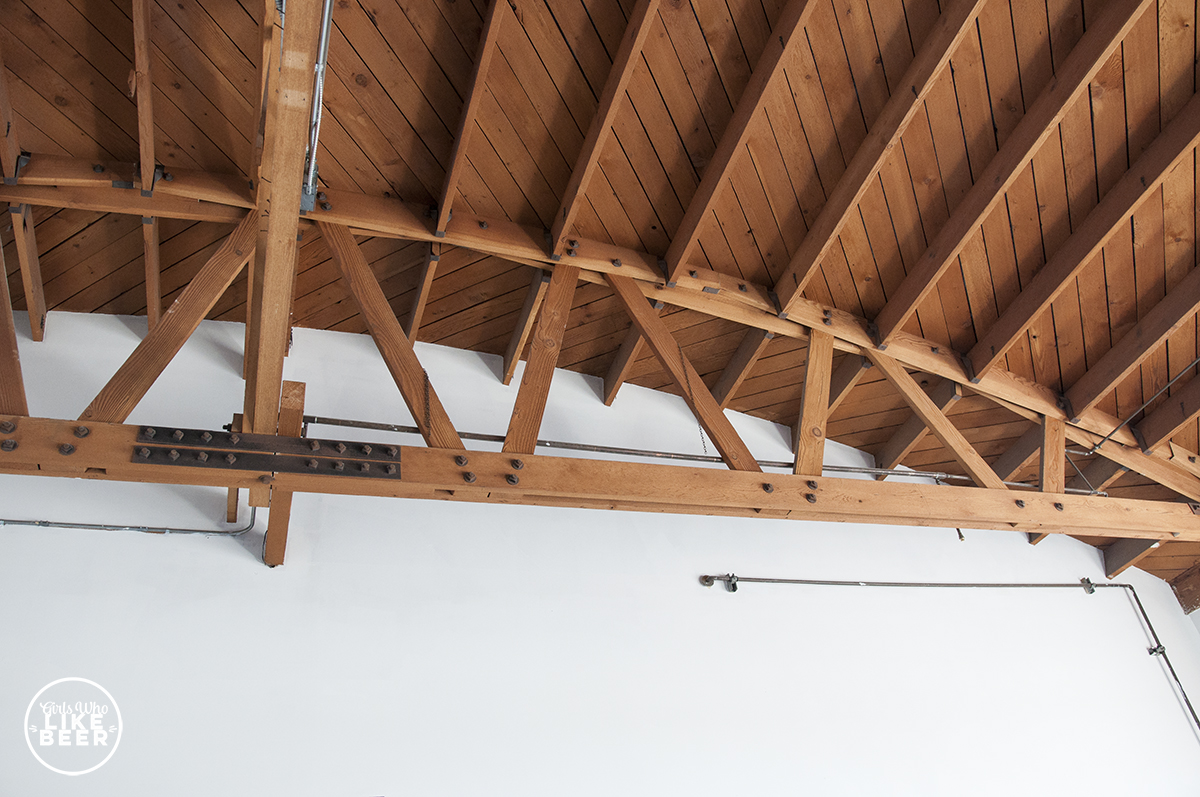 The building ceilings reveal 1940s trusses