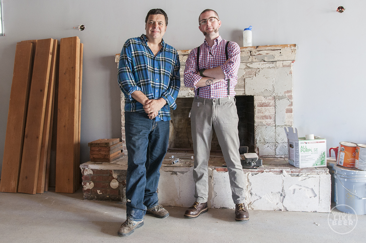 Founder Gary Croft and Head Brewer Andy Black in the midst of construction